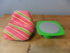VINTAGE~MATTEL BARBIE CHAIR & SIDE TABLE SET~MULTICOLOR STRIPES~L@@K!
