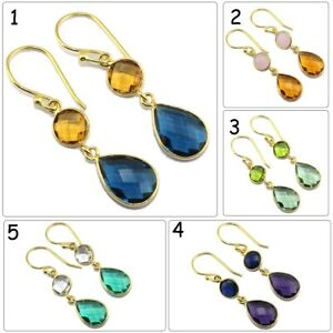 Colorful Pear Round Hydro Quartz Chalcedony Gold Plated Handmade Bezel Earrings
