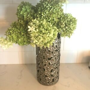 Silver tone embossed metal cutout cylinder vase cover flowers decorative home de