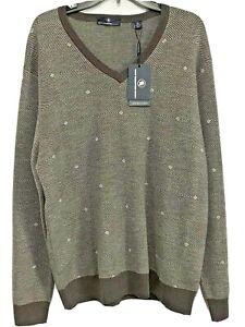 HART SCHAFFNER MARX Mens V-Neck Merino Wool Sweater XL Grey Purple NWT