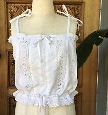 VINTAGE EYELET CAMISOLE TOP WHITE EMBROIDERED VICTORIAN STYLE BOHO ROMANTIC