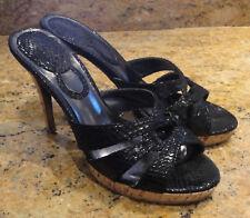 Charles David Lynx Sandal Black Patent Leather Cork Heel Platform 8 Beautiful!