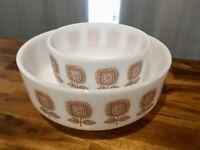Pair Vintage Mid-Century Federal Heat Proof Sun Flower Milk Glass Mixing Bowls