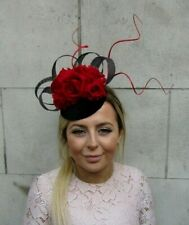 Black and Red Fascinator Flower Pillbox Hat Hair Floral Large Races Wedding 0761