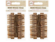 72 x Mini Bois Chevilles + 4 m de ficelle de jute Craft Wedding Hanging Photo Clips en bois