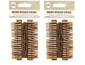 72 x Mini Wood Pegs + 4m of Jute String Craft Wedding Hanging Photo Clips Wooden