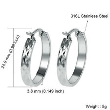 18K Gold Filled Stainless Steel Fashion Round Charm Hoop Earrings For Women Girl
