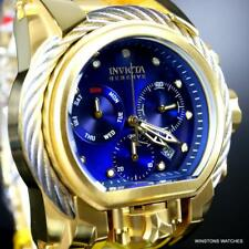 Invicta Reserve Bolt Zeus Magnum Gold Plated Steel Blue Swiss Mvt 52mm Watch New