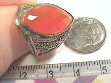 NATURAL CARNELIAN RUBY STERLING SILVER 925 RING 7 OLD VINTAGE BOLD ELEGANT NICE