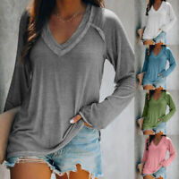 Womens V Neck Long Sleeve T Shirt Casual Solid Blouse Loose Tunic Basic Tee Tops
