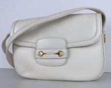 Gucci Vintage White Leather Gold Horsebit Flap Small Shoulder Bag Crossbody
