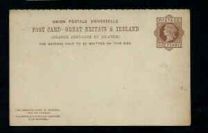 QV 1870s 1d BROWN POSTAL STATIONERY CARD WITH REPLY ATTACHED. UNUSED.