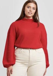 Ava & Viv Women's Plus Size Red Waffle Knit Pullover Sweatshirt Size 1X 16W/18W