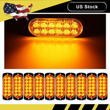 10X Amber Car Truck 12 LED Emergency Flash Warning Strobe Light Kit Beacon Bar