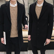 Men's Slim Trench Coat Long Single Breasted Overcoat Lapel Jacket Parka Outwear