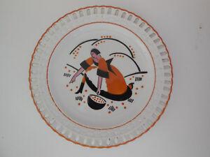 RARE French antique ceramic dessert plate, signed KG Luneville model MIRABELLE