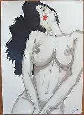 """Dessin encre de chine erotique nu féminin fine art """"pov"""" A4 Par G.Vanspey"""