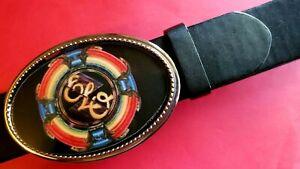 ELO - Electric Light Orchestra   Epoxy PHOTO MUSIC BELT BUCKLE & Black Belt