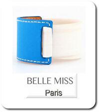 Armband Armreif  Leder-Optik/Kunststoff Breit 4 cm Belle Miss Paris Blau/Weiß