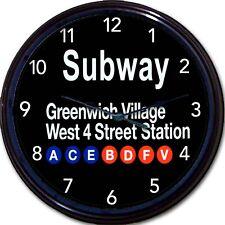 "New York City Greenwich Village 4 Street Station Subway Sign Wall Clock New 10"""