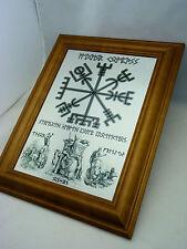Rune viking vegvisir boussole, odin, thor et freya wall art imprimé sur en métal argenté