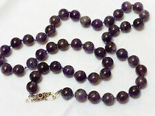 VINTAGE NATURAL AMETHYST BEAD NECKLACE STERLING SILVER CLASP