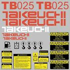 TB025 Decals TB025 Stickers Takeuchi Excavator repro Decal Set stickers kit