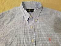 Mens Polo Ralph Lauren Dress Shirt XL Blue Cotton Button
