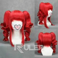 VOCALOID-teto Red Anime Cosplay Party Wig HAIR+2Clip On Ponytail
