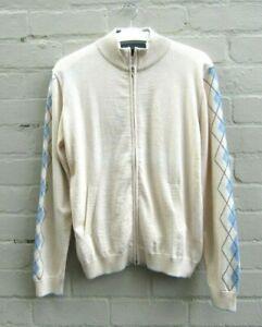 Luxury Baby Alpaca/ Cotton blend LS Argyle Cardigan Women's size XL