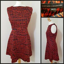 French Connection Leopard Print knee Length Dress UK Size 16 Red / Burgundy