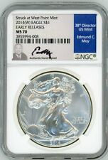 2014(W) $1 Siver Eagle MS70 Struck At West Point Early Releases NGC Ed Moy