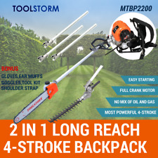 4-STROKE Long Reach Backpack Pole Chainsaw Hedge Trimmer Pruner Chain Saw Cutter