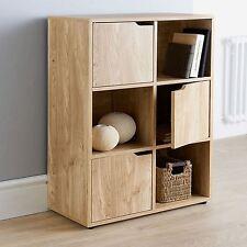 Oak Finish 6 Cube 3 Door Wooden Storage Unit Display Shelving Book Shelves Shelf