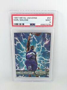 1997-98 Skybox Metal Universe #97 Karl Malone PSA MINT 9 Utah Jazz HOF