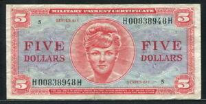 USA 1964, Military Payment, Series 611, 5 Dollar, M55, aVF