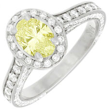 Handcrafted Fancy Yellow 2.75 CTW Oval cut Diamond Ring 18K Gold GIA Certified