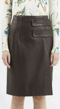Topshop Unique range chocolate brown butter soft leather skirt UK 10 NEW £265