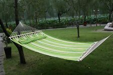 Heavy Duty Fabric Hammock With Pillow Double Size Spreader Bar Patio Bed