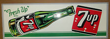 "Wonderful 7-UP Sign, Great Color, Graphics and Shine, Large 12"" x 35"""