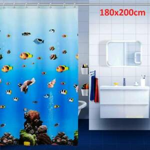 Drop PEVA Shower Curtain Waterproof Curtain Extra Long 180cm x 200CM Blue
