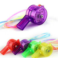 5PCS Flashing Whistle Colorful Lanyard LED Light Up Fun In the Dark Party Rave.