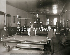Old Time Pool Hall Billiard Tables Vintage Pool Tables Woodstove Men Playing WOW