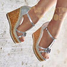Ladies Platform Ankle strap wedges Open Toe Sandals Cork High Heel Shoe Wedge