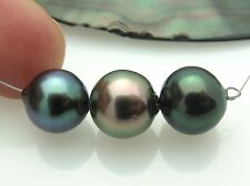 3 AA GORGEOUS RIKITEA MANGAREVA GAMBIER ISLAND BLACK PEACOCK CULTURED PEARLS