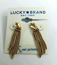 Lucky Brand Rose Goldtone Sterling Silver Pave/' Triangle Ear Jacket Earrings