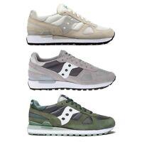 New Saucony Shadow Original Men Off White Green Grey Suede Fashion Shoes NIB