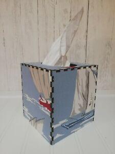 Tissue Box Cover Made W/ Skipper Blue Boat Fabric Cube Square Seaside