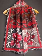 71-17in Hand painted silk scarf ASAP Luxury gift red black grey scarf Orchid