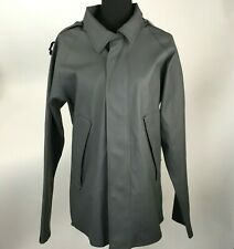 NWOT Elka Regntoj Artisan Grey Solid Raincoat Jacket Rubber Mens Size XS Stained